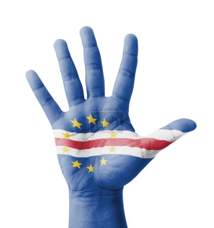 Open hand raised, multi purpose concept, Cape Verde flag painted