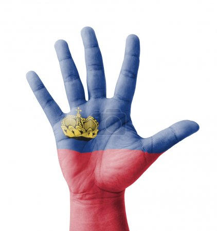 Open hand raised, multi purpose concept, Liechtenstein flag pain