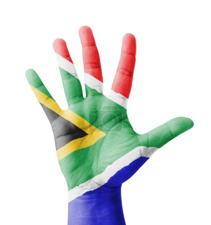 Photo pour Ouvrez la main levée, concept de multi de but, l'Afrique du Sud drapeau peint - isolé sur fond blanc - image libre de droit
