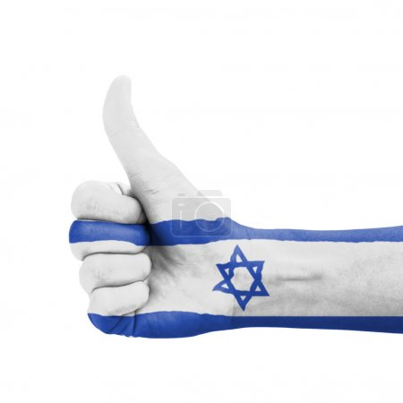 Photo pour Hand with thumb up, Israel flag painted as symbol of excellence, achievement, good - isolated on white background - image libre de droit