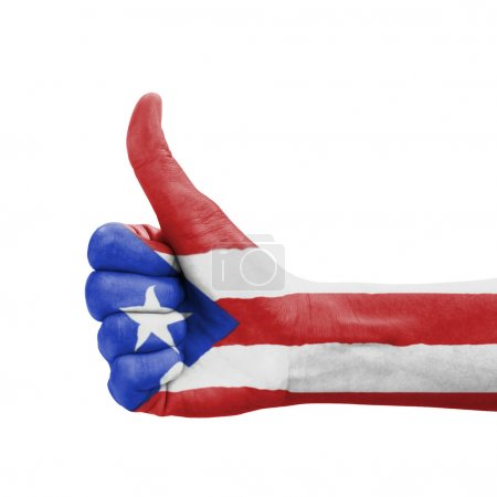 Hand with thumb up, Puerto Rico flag painted as symbol of excell