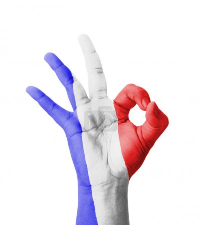Photo pour Hand making Ok sign, France flag painted as symbol of best quality, positivity and success - isolated on white background - image libre de droit