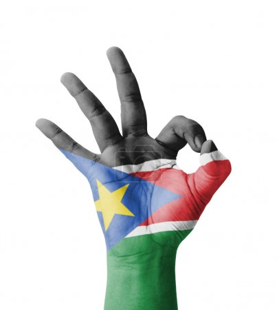 Photo pour Hand making Ok sign, South Sudan flag painted as symbol of best quality, positivity and success - isolated on white background - image libre de droit