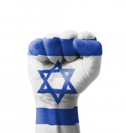 Photo pour Fist of Israel flag painted, multi purpose concept - isolated on white background - image libre de droit