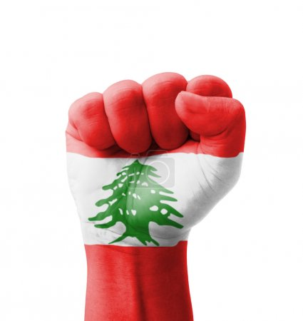 Photo pour Fist of Lebanon flag painted, multi purpose concept - isolated on white background - image libre de droit