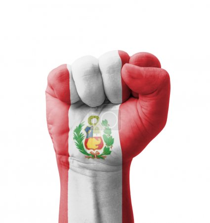 Photo pour Fist of Peru flag painted, multi purpose concept - isolated on white background - image libre de droit