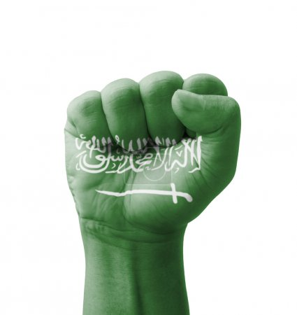 Photo pour Fist of Saudi Arabia flag painted, multi purpose concept - isolated on white background - image libre de droit