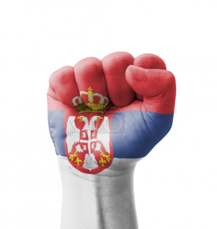 Photo pour Fist of Serbia flag painted, multi purpose concept - isolated on white background - image libre de droit