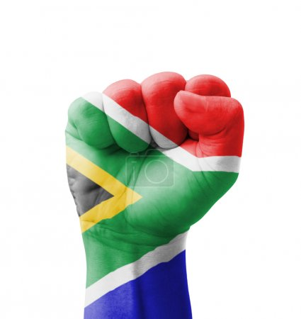 Photo pour Fist of South Africa flag painted, multi purpose concept - isolated on white background - image libre de droit