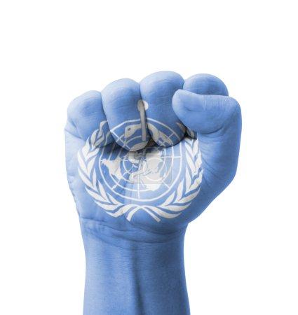 Photo pour Poing de qui a peint de drapeau (Organisation mondiale de la santé), multi purpose concept - isolé sur fond blanc - image libre de droit