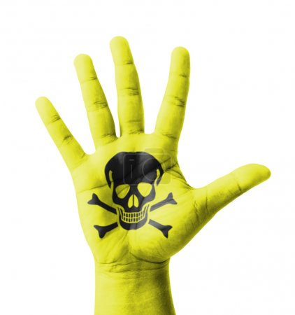 Open hand raised, Poisonous sign painted, multi purpose concept