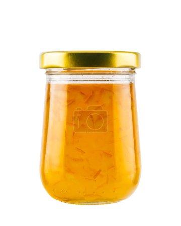 Photo pour Confiture d'orange marmelade dans un bocal en verre isolé sur fond blanc - image libre de droit