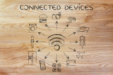 Photo for Connected Devices: wifi and internet of things - Royalty Free Image