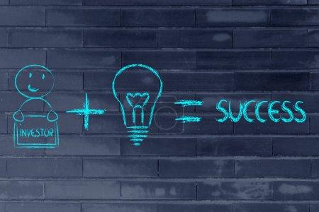 Photo pour Éléments de succès de l'entreprise : bonnes idées et bons investisseurs - image libre de droit