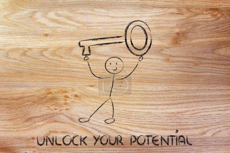 man holding oversized key, unlock your potential