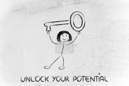 Photo for Unlock your potential, funny girl holding oversized key - Royalty Free Image