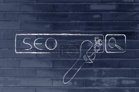 Photo pour Conception sur l'optimisation des moteurs de recherche avec la barre de recherche et de la clé - image libre de droit
