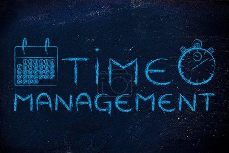 Photo pour Chronomètre et calendrier, le rôle de la gestion du temps dans une entreprise mondiale - image libre de droit