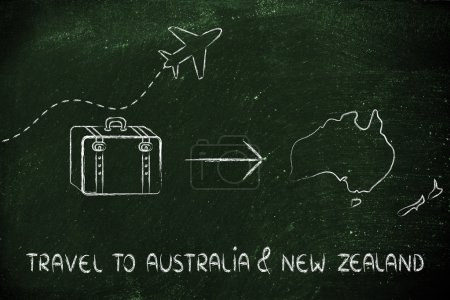 Travel industry: airplane and luggage going to Australia & New Zealand