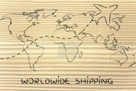 worldwide shipping: world map with airplane routes