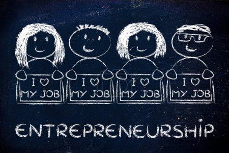 Entrepreneurs holding panels