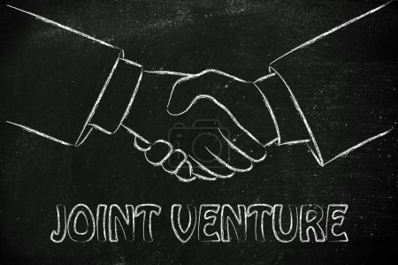 Joint venture write with hands shaking