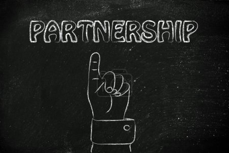 Photo pour Pointant du doigt le concept de partenariat - image libre de droit