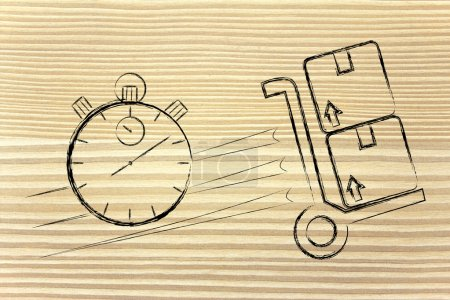 Photo for Fast delivery time: parcels and stopwatch illustration - Royalty Free Image
