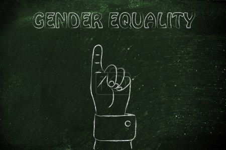 """Photo pour Pointant du doigt le concept d """"égalité des sexes - image libre de droit"""