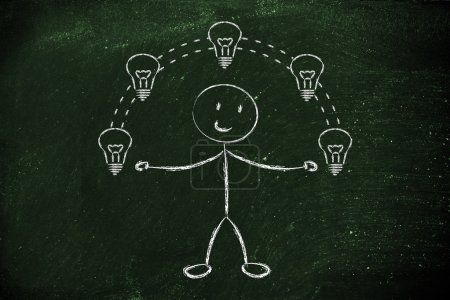 Funny man juggling ideas