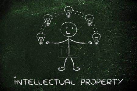 Photo pour Propriété intellectuelle et propriété du droit d'auteur : caractère drôle jonglant avec des idées - image libre de droit