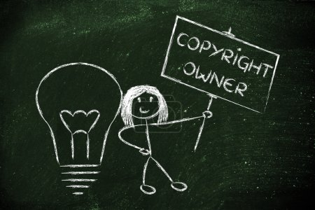 Funny copyright owner girl with her idea