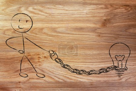Copyright owner man with his idea on a chained leash