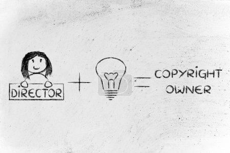 Photo pour Réalisateur plus une bonne idée égale formule de copyright - image libre de droit