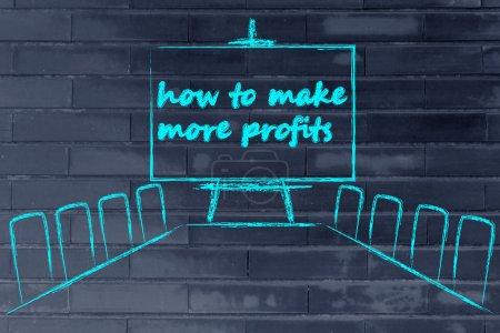 Photo pour Jury de salles avec tableau blanc et écrire comment faire plus de profits - image libre de droit