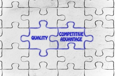 Quality & competitive advantage puzzle illustrat