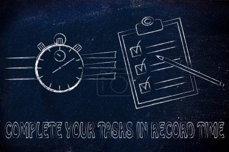 Photo pour Accomplir vos tâches en un temps record: chronomètre et de faire la liste entièrement coché - image libre de droit
