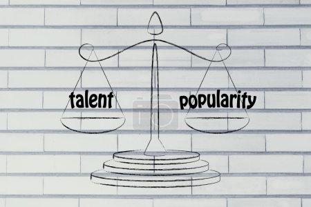 Photo pour Équilibre mesurant la performance de l'entreprise : talent et popularité - image libre de droit