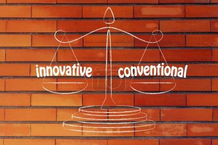 Photo pour Trouver un bon équilibre pour votre entreprise entre l'innovation et la - image libre de droit
