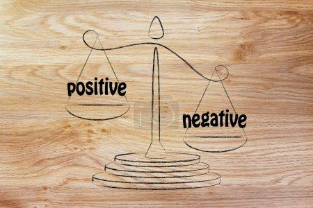 Photo pour Plus de contreques que de pros, métaphore de l'équilibre mesurant le positif et le négatif - image libre de droit