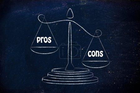 Photo pour Plus de contreques que de pros, métaphore de l'équilibre mesurant le bon et le mauvais - image libre de droit
