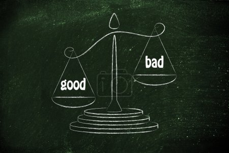 metaphor of balance measuring the good and the bad