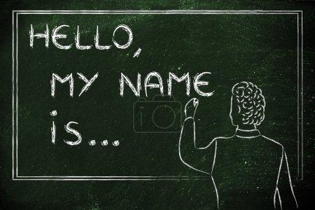 teacher writing on blakboard: Hello, my name is...