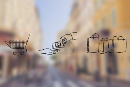 Shopping & buying products illustration