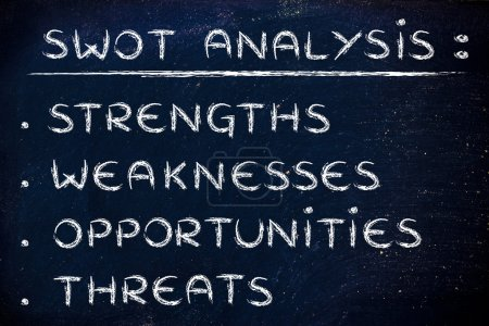 Photo for List of the elements of the SWOT analysis, Strenghts, Weaknesses, Opportunities Threats - Royalty Free Image
