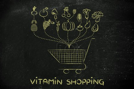 Illustration about buying healthy food
