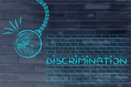 Photo pour Bâtir un monde meilleur, métaphore avec démolisseurs détruire un mur de Discrimination - image libre de droit