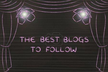 Photo pour Les meilleurs blogs à suivre : illustration avec scène théâtrale et focus sur les concepts de marketing numérique - image libre de droit