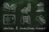 Spoření a investování peněz koncept
