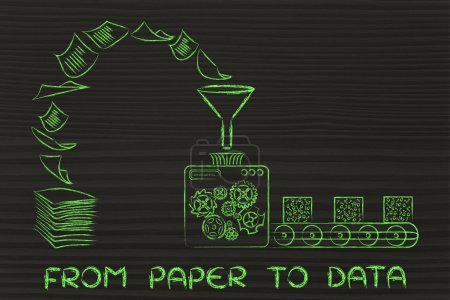Photo for From paper to data: factory machines turning unorganized documents into processed information - Royalty Free Image